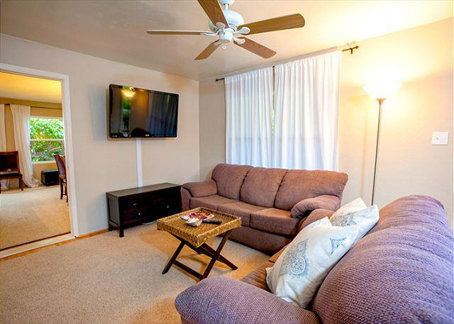 "Living room with 52"" flat screen TV complete with DVD and complimentary Netflix for all guests - Stroll to the sand at Windansea beach - La Jolla - rentals"