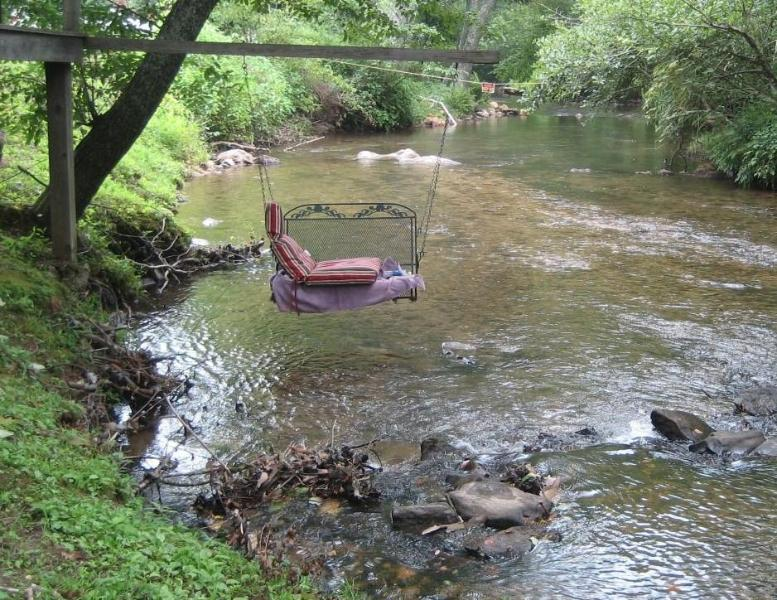 Creek Swing is easily accessed by simply walking out the back yard for about 50'! - Waterfront Cabin Rental for up to 8-Blue Ridge GA - Blue Ridge - rentals