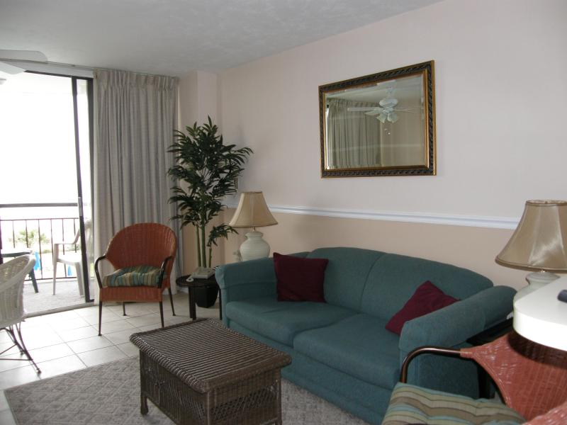 The living area - 1 bdrm DIRECT OCEANFRONT Condo in Myrtle Beach - Myrtle Beach - rentals