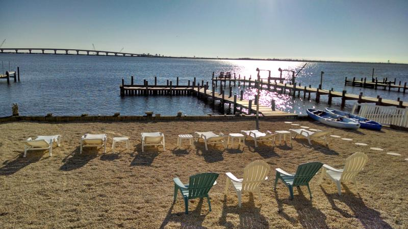 Backyard morning facing LBI - Luxury Modern Bay Front Custom Home - Pier for Boat - Manahawkin - rentals