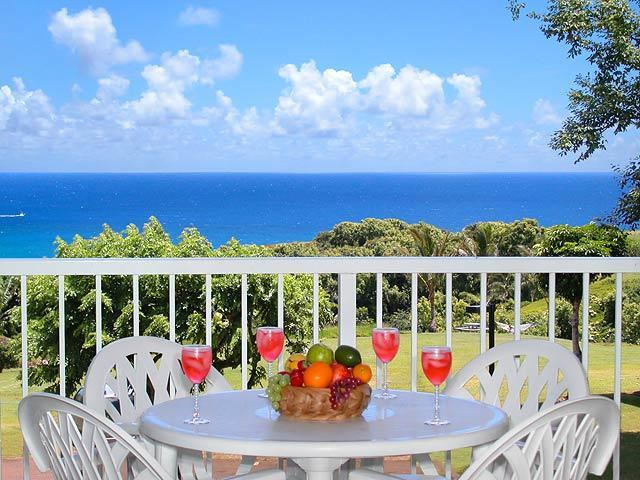 Ocean view from living room lanai - Keiha's Paradise - Luxurious Ocean & Mountain View - Princeville - rentals