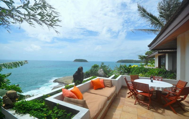 View to the west and northwest from living/dining room patio - Cape Kata Oceanfront Villa. Walk to Kata Beach ! - Kata - rentals