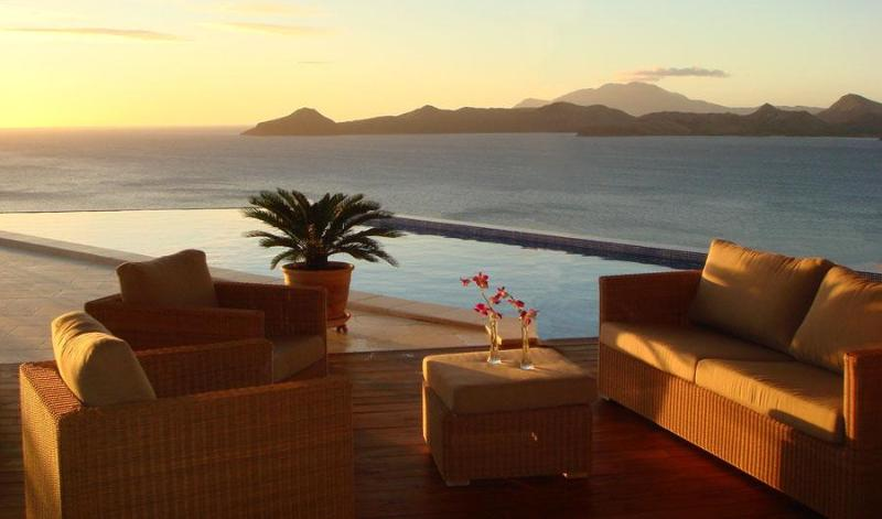 Sunset over the pool and St Kitts - Beautiful seclusion, privacy and stunning sea view - Nevis - rentals