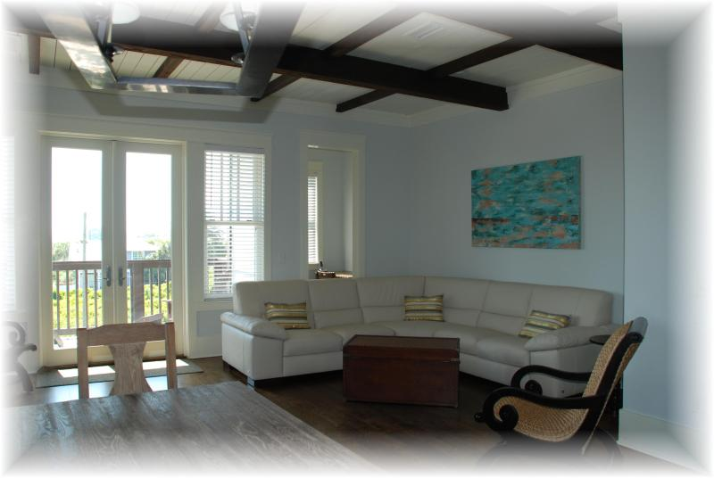 georgous living area with italian leather sectional and beach views from balcony - Luxurious New Home, views, 100yds to the beach! - Panama City Beach - rentals