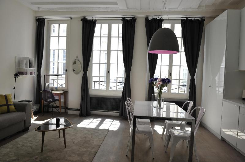 Living room - 3 windows - Beautiful apartment -Ile Saint Louis-A/C-Free wifi - Paris - rentals