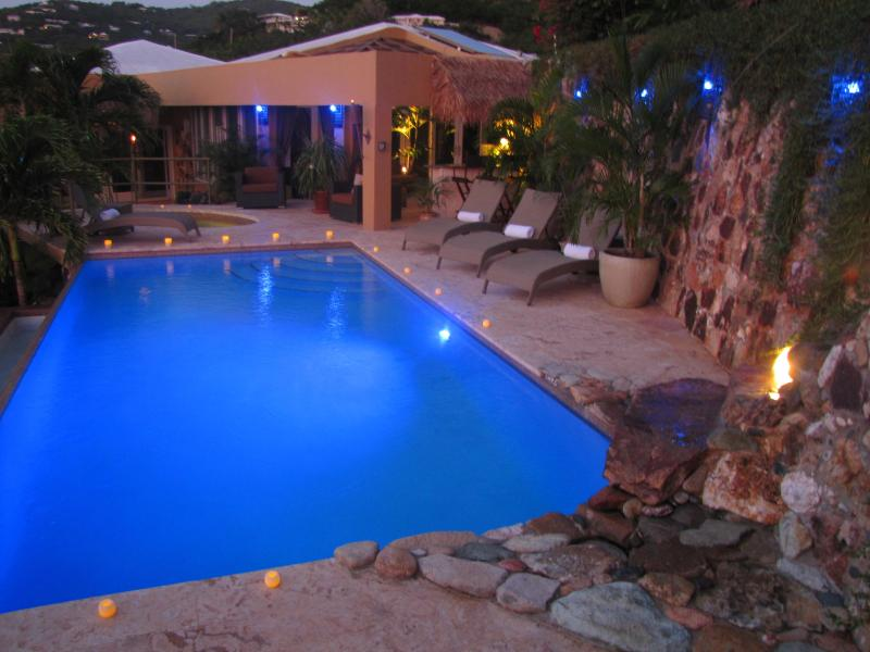 blue light dusk at the villa - Some like it hot,oceanfront, bali massage hut - Saint John - rentals
