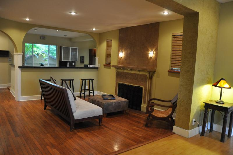 Family Room with Original 1920s Fireplace - Spacious Home:Hemingway Villa in Coral Gables Area - Coconut Grove - rentals