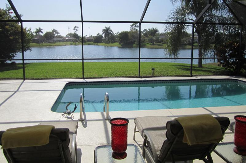 Sunny, private western exposure pool and patio/lanai with view on lake - A Stunning Lake View with Sunny Pool and Lanai - Naples - rentals