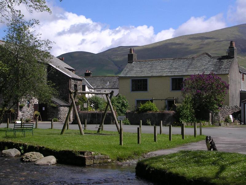 View of cottage from across the stream - Village cottage, log fire,stream,ducks-BrookHouse1 - Keswick - rentals