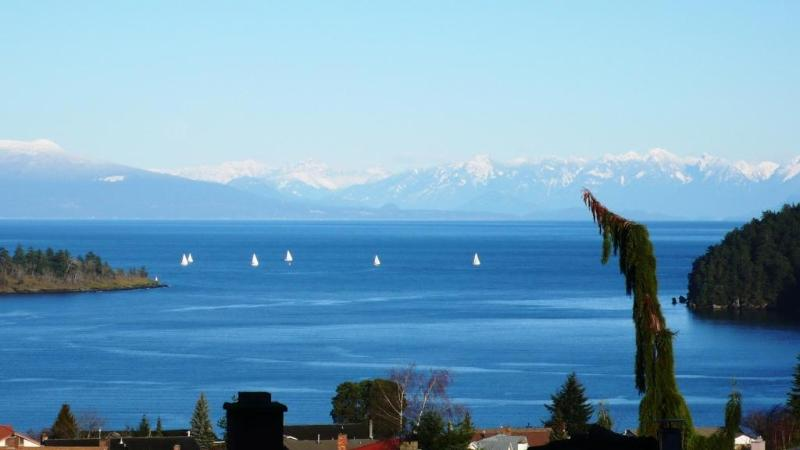View of the Channel and Coastal Mountains from the property - Air-conditioned 3 BR view suite for 6 - Nanaimo - rentals