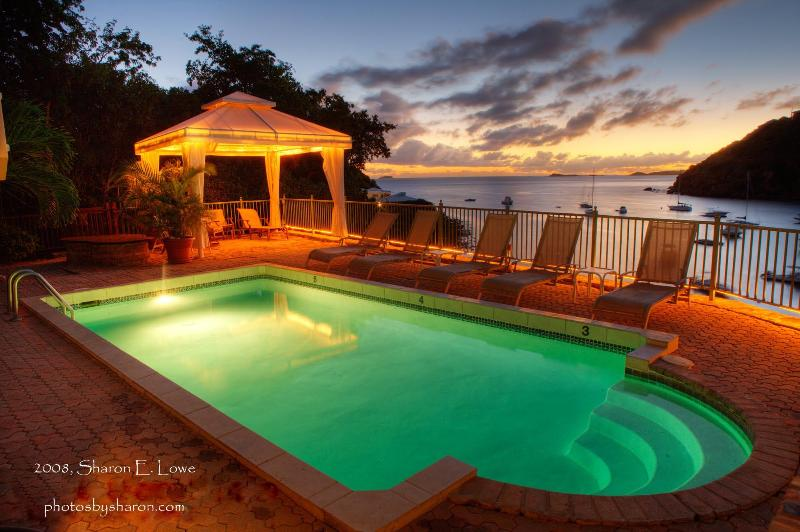 View of the pool at night - 6 Bedroom Beachfront Villa St John Chocolate Hole - Cruz Bay - rentals