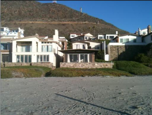 Brown front beach house - view from the ocean - La Mision, Baja California  Right on the Sand - La Mision - rentals