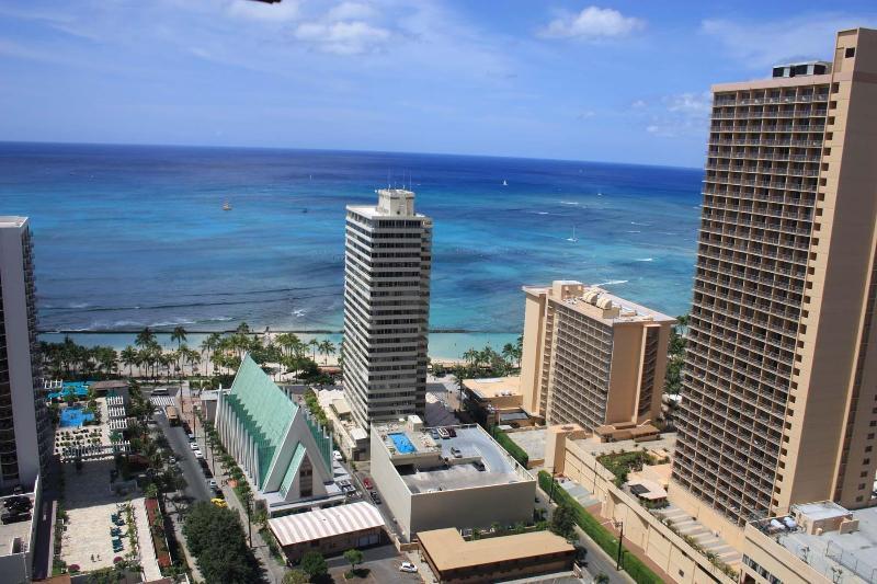 Ocean View From Living Room, Bedroom & Balcony - Spectacular 35th Floor Ocean View Corner Condo $13 - Honolulu - rentals