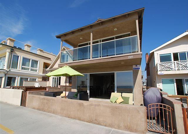 View of the property from the Sand, just a leap over the boardwalk! - Huge Single Family Oceanfront Beach House! (68196) - Newport Beach - rentals