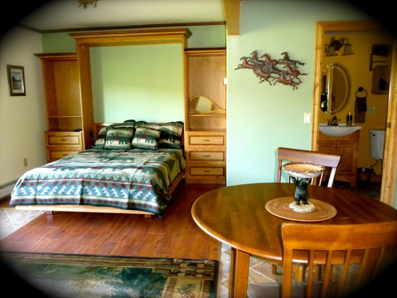 Studio with queen bed and bathroom with shower. - Studio with spectacular Glacier Park views - East Glacier Park - rentals
