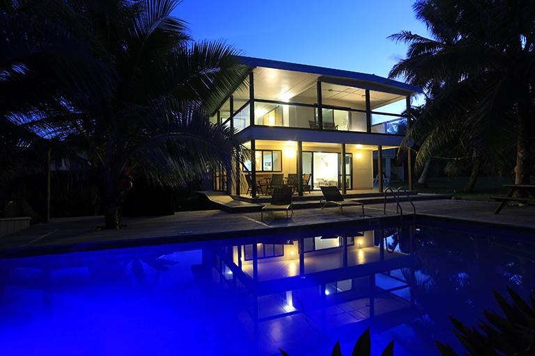 Avaro House & Pool by night - AVARO HOUSE - Beachside & Swimming Pool - Rarotonga - rentals