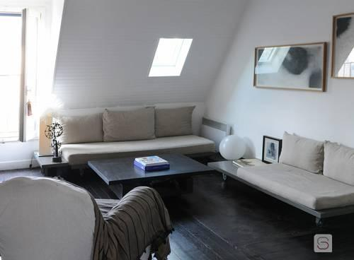 Bright and spacious living room - Le Bachaumont - Rooftop loft in the heart of Paris - Paris - rentals