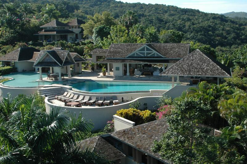 Aerial of pavilion, pool and owners villa - Silent Waters Villa - Private Luxury Villa - Montego Bay - rentals