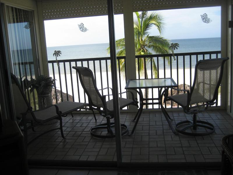 Screened lanai view of Gulf of Mexico - Life's a Beach - Fort Myers Beach - rentals
