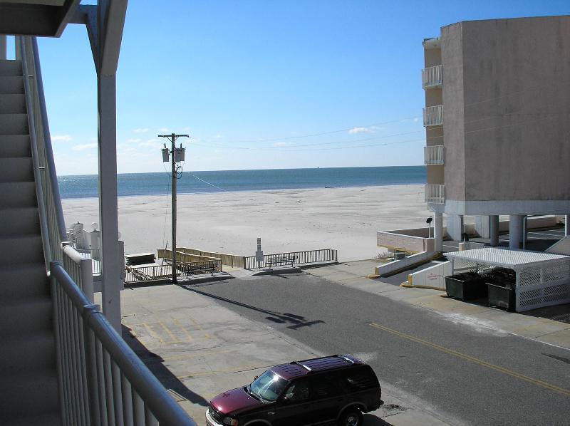 View of beach from front door of condo - 2BR Condo in Oceanfront Summer Sands - Wildwood Crest - rentals