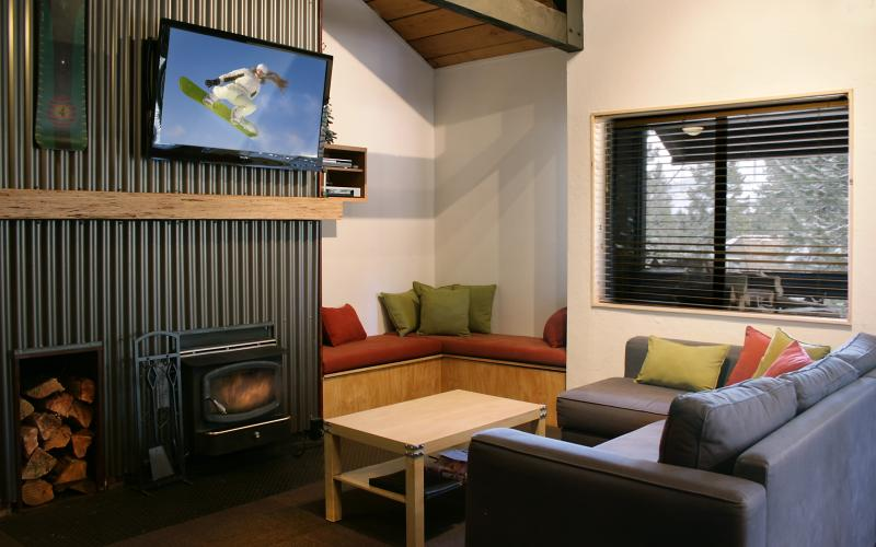 "Living room with 46"" flat screen TV, DVR and DVDPlayer - Rustic Modern Condo-Brand new Pool & Spa-sleeps 8 - Mammoth Lakes - rentals"