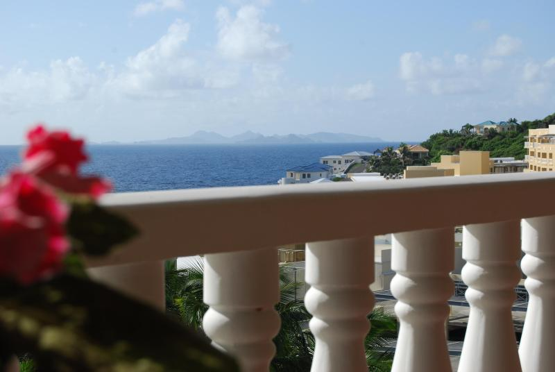 The view from the large covered lanai - 1 Bdrm Condo with Superlative Views of St. Barts - Philipsburg - rentals