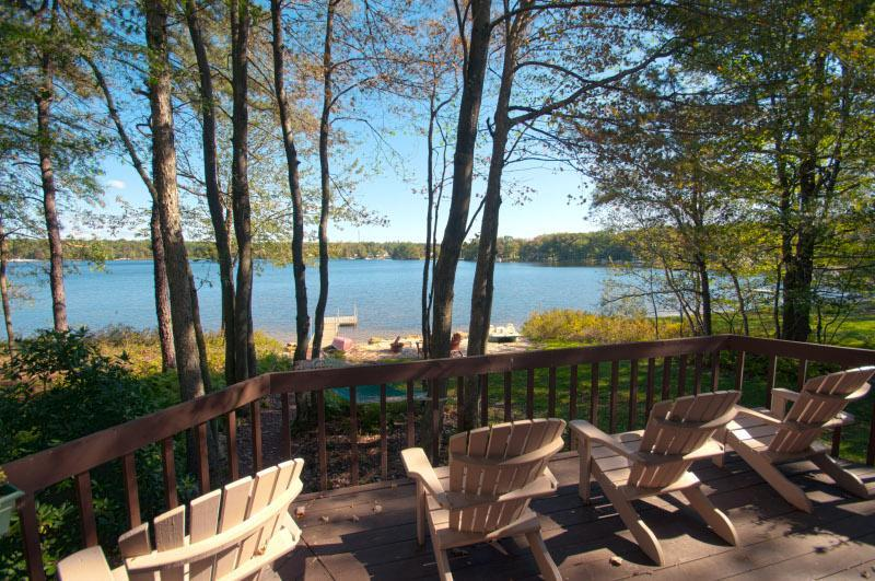 Deck overlooking beach and lake - Bear Creek Lake Front House-Private Dock  & Beach - Jim Thorpe - rentals