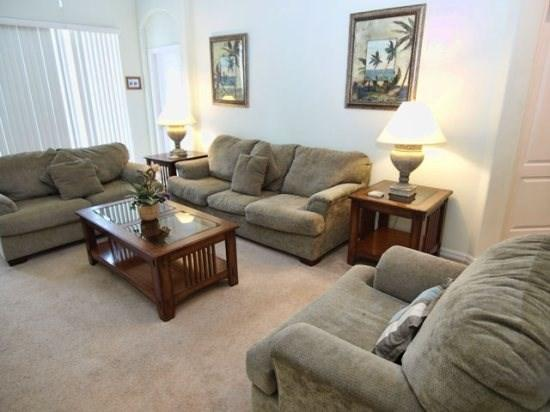 Living Area - TH4P671THB 4 BR Pool Home in Gated Community with High Speed Internet - Davenport - rentals