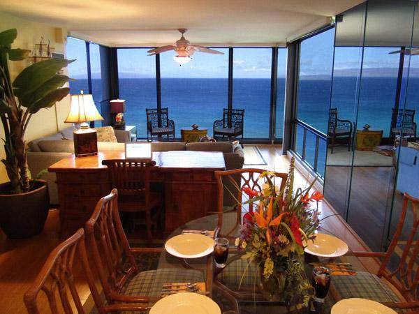 Enjoy the incredible views from the dining room table - Apr 7-21 Open - Mahana Luxury 2 King BR Oceanfront - Lahaina - rentals