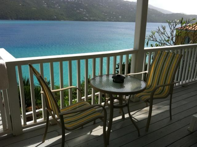 View from the deck - Large beachfront studio, on Magen Bay- water acces - Saint Thomas - rentals