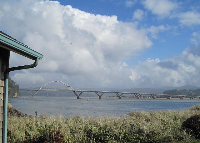 View from porch - Baywatch  R413 Waldport Oregon Vacation rental  Alsea Bay Bridge views - Waldport - rentals