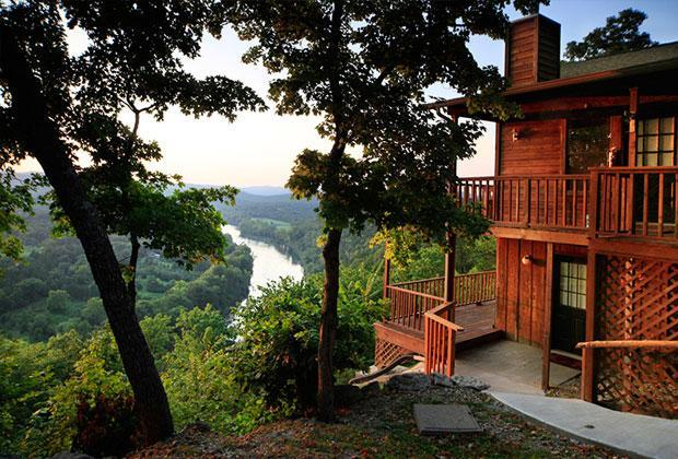 Cabin Exterior w/River View - Can U Canoe Cabin 103 - The Fishing Moose - Eureka Springs - rentals