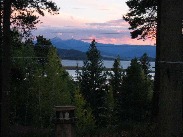 Sunset Looking from the Great Room onto Lake Granby, Byer's Peak & the Continental Divide - Bevs Rocky Mountain Lake Log Cabin   Fun All Year! - Grand Lake - rentals