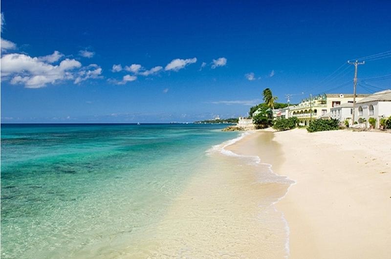 Beach close to the condo (building in the background) - Beachfront apt., Barbados, stunning West Coast - Speightstown - rentals