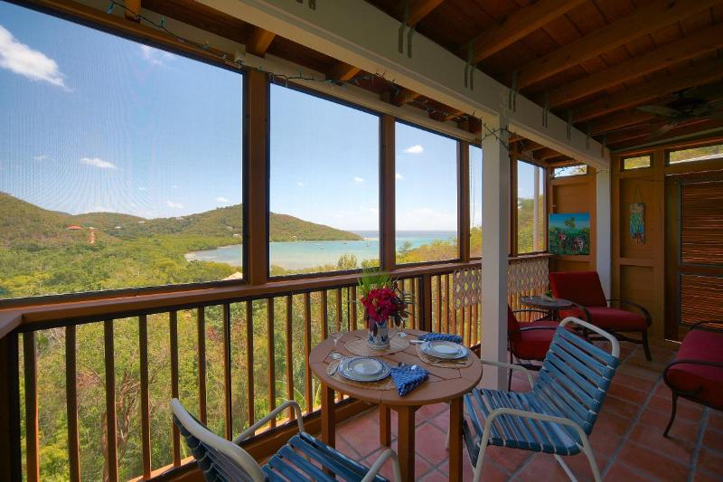 Screened porch overlooking Fishbay - Gecko House, a romantic cottage with ocean views! - Saint John - rentals