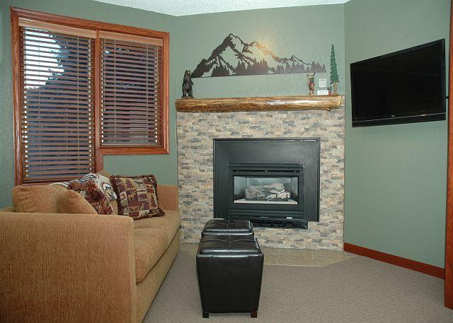 Living area w/Sofa Sleeper - Gas fire place - TV w/cable tv - Newly remodeled Ski in Ski out Studio at Iron Horse Resort - Winter Park - rentals