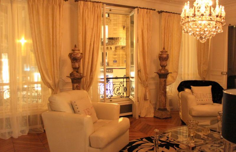 View of the living room with a background of wonderful nightime Paris! - Luxury Residence in the Heart of St Germain! - Paris - rentals