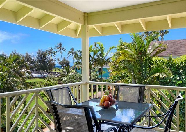 Spacious Kahele Kai covered lanai and Brennecke Beach views - 75 Yards to Poipu's best beaches, exquisitely remodeled, ocean & sunset views - Poipu - rentals