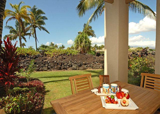 Downstairs lanai - Newly Upgraded and  Beautiful Loaded Townhome! SUMMER SPECIAL 7TH NIGHT Comp - Waikoloa - rentals