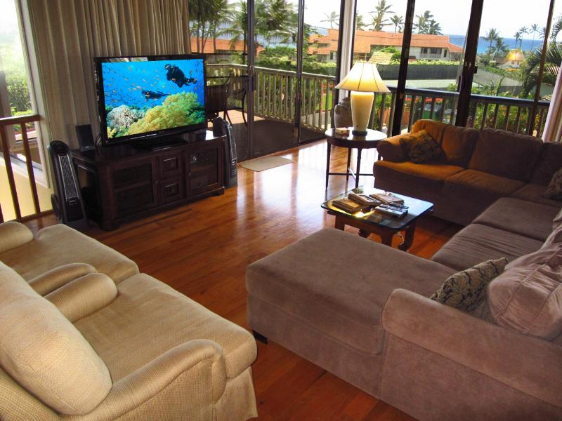 Elegant living room with HDTV and ocean views - 2300 sq. ft. Ocean View 3Br/2Ba-A/C-Walk To Beach - Poipu - rentals