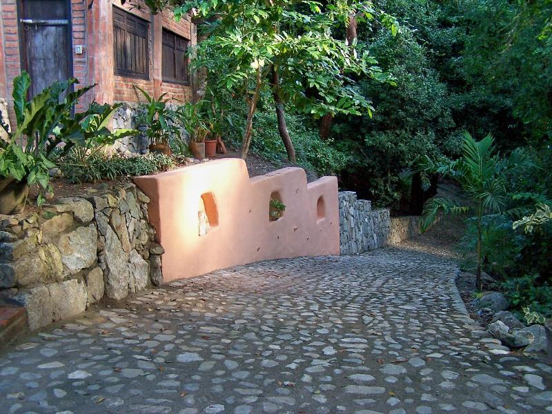 Cobblestone driveway - drive right to entrance of main house - Villa Bali Casa #5  Jungle and Ocean 1-3 Bedroom Home  in quiet Pazcuarto area - Sayulita - rentals