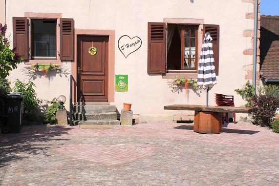 outside with a table and an umbrela - Harzala - Charming holiday rental in Alsace - Bergheim - rentals