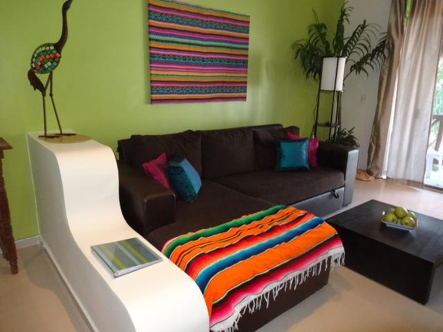 living room with trundle sofa - Casa Tortuga 1 - 1 BR condo at Coco Beach - Playa del Carmen - rentals