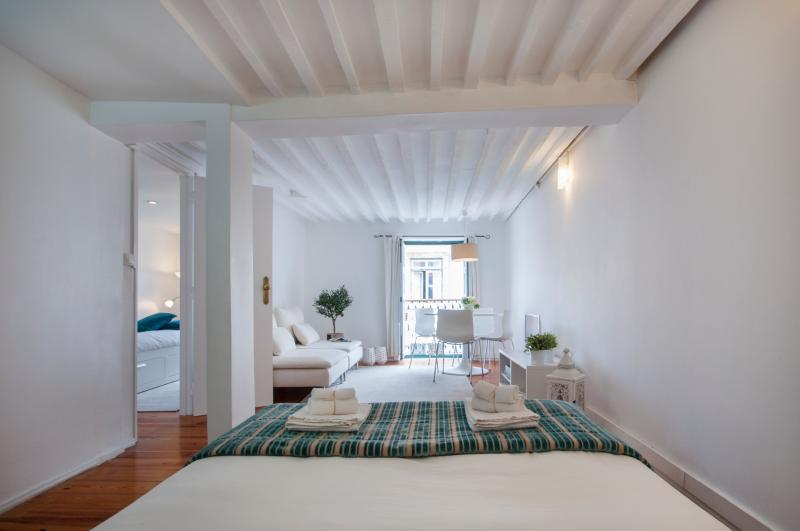 Bright lounge with a/c and view to historic centre and Lisbon's Castle - Design apt in historic centre (Baixa) with balcony - Lisbon - rentals