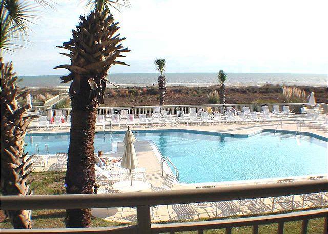 Ocean One 211 View from Balcony - Ocean One 211 - Oceanfront 2nd Floor Condo - Hilton Head - rentals