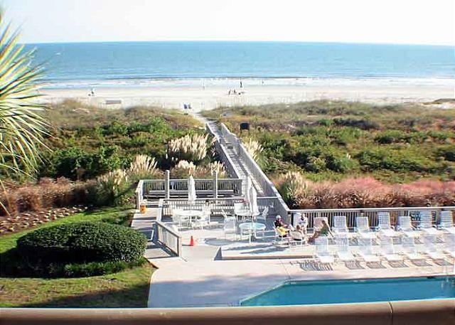 Ocean One 409 View of Pool and Ocean - Ocean One 409 - Oceanfront 4th Floor Condo - Hilton Head - rentals