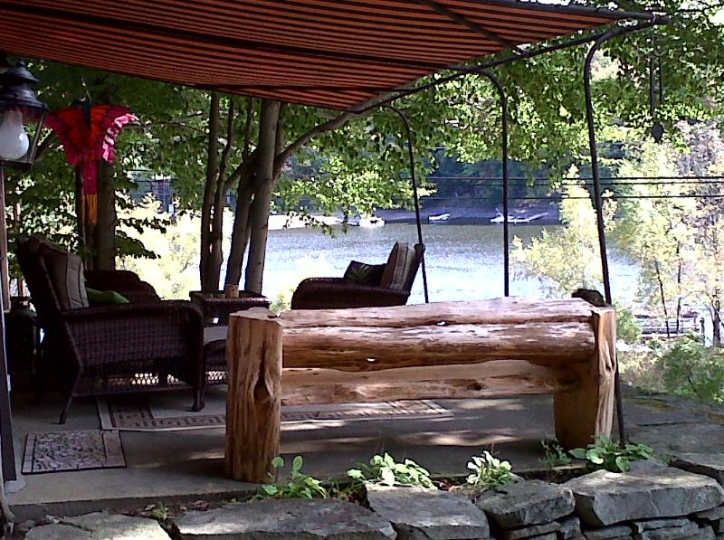 Shaded front porch with lake view - LAKE WALLENPAUPACK W/BOAT SLIP,F/P,F/PIT,VIEWS - Paupack - rentals