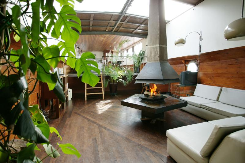 living room with fire place - Houseboat IDEAAL II -very spacious, fully private - Amsterdam - rentals
