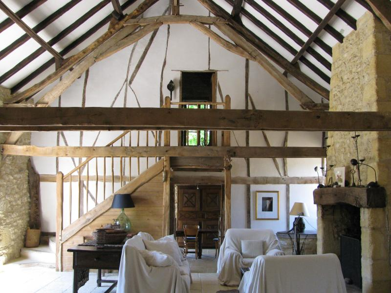 Partial view of grand living room - Stylish, 1830s Stone Barn- Walk to the Dordogne! - Sarlat-La-Caneda - rentals