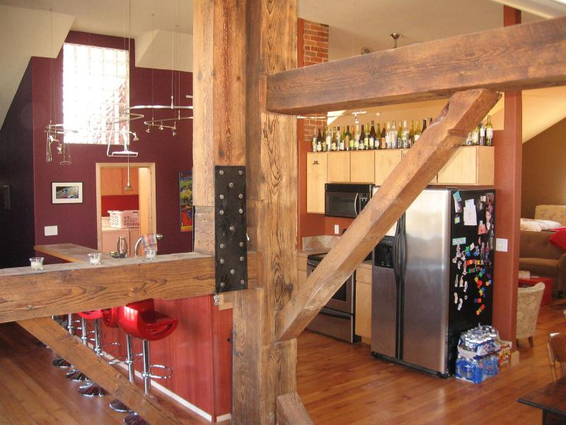 View into kitchen from bell tower - The Loft in Lansing, Iowa - Lansing - rentals